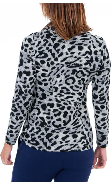 Anna Rose Multi Print Cowl Neck Tunic - Black/Cobalt