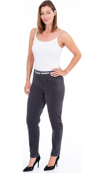 Slim Leg Cord Trousers - Grey