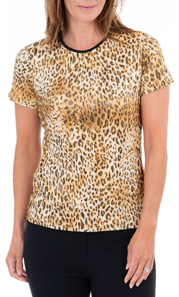 Anna Rose Pleated Animal Print Top