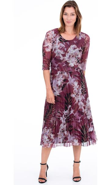 Printed Mesh Pleated Dress Beetroot