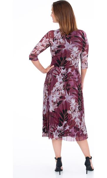 Printed Mesh Pleated Dress Beetroot - Gallery Image 2