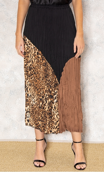 Multi Print Pleated Midi Skirt Black/Brown - Gallery Image 2