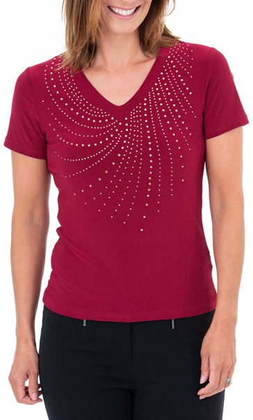 Anna Rose Embellished V Neck Top - Beetroot