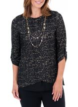 Anna Rose Double Layer Blouse With Necklace