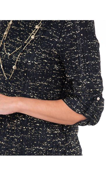 Anna Rose Double Layer Blouse With Necklace Black/Gold - Gallery Image 3