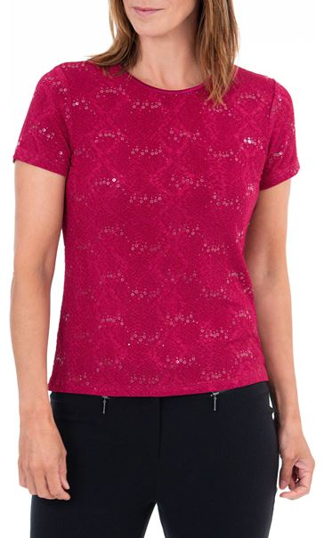Anna Rose Short Sleeve Textured Top Beetroot