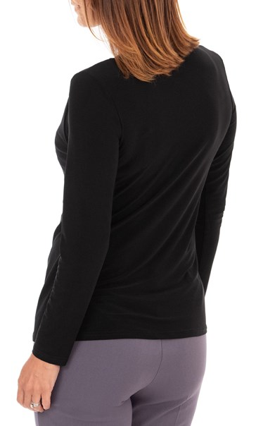Anna Rose Double Layer Tie Front Top Black/Soft Pink/Grey - Gallery Image 3