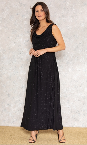 Embellished Glitter Maxi Dress Black