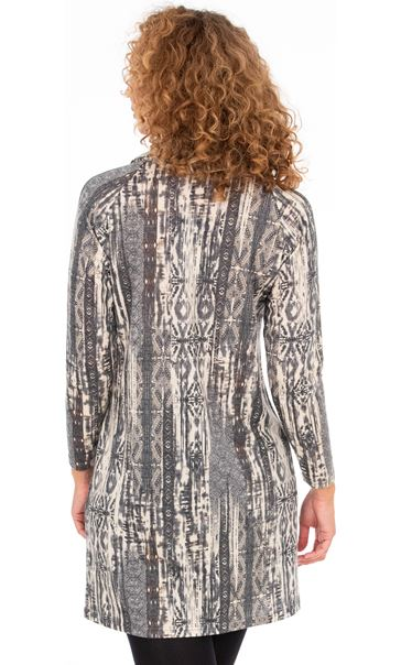 Printed Cowl Neck Tunic Grey/Brown - Gallery Image 2