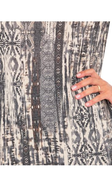 Printed Cowl Neck Tunic Grey/Brown - Gallery Image 3