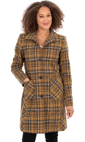 Checked High Neck Longline Coat