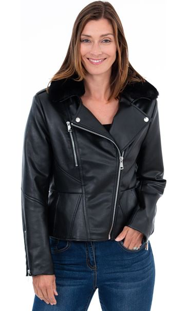 Faux Leather Biker Jacket Black - Gallery Image 2