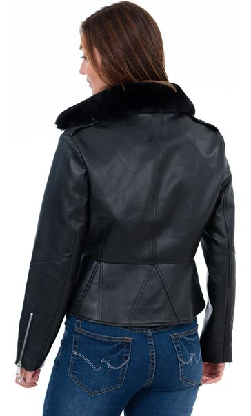 Faux Leather Biker Jacket Black - Gallery Image 3