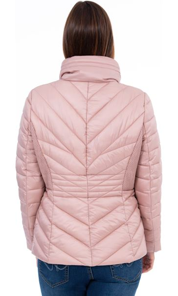 Quilted Zip Up Coat Rose - Gallery Image 3