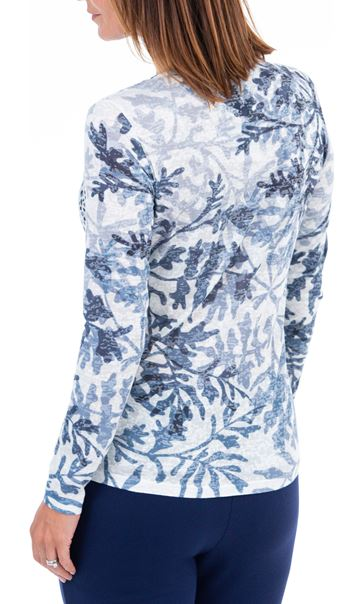 Burnout Top With Sparkle Detail Blue/White - Gallery Image 2