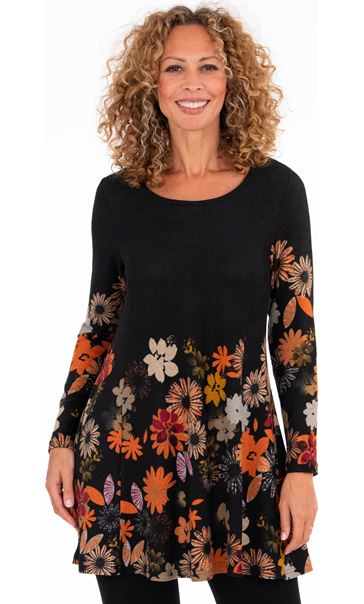 Floral Printed Brushed Knit Tunic Black