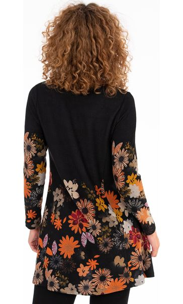 Floral Printed Brushed Knit Tunic Black - Gallery Image 2