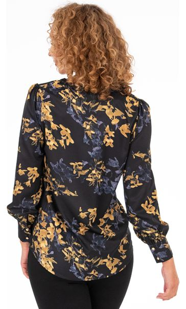 Floral Print Blouse Black/Ochre - Gallery Image 2