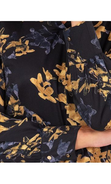 Floral Print Blouse Black/Ochre - Gallery Image 3