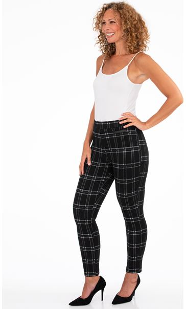 Checked Stretch Trousers Black/Moss