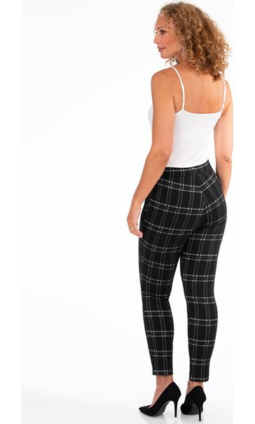 Checked Stretch Trousers Black/Moss - Gallery Image 2
