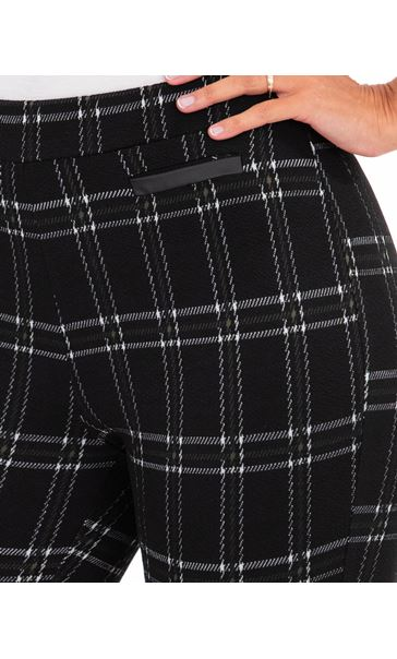 Checked Stretch Trousers Black/Moss - Gallery Image 3