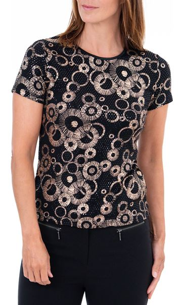 Anna Rose Spangle Print Top Black/Gold