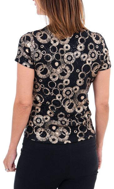 Anna Rose Spangle Print Top Black/Gold - Gallery Image 2