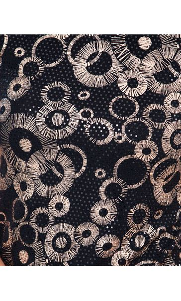 Anna Rose Spangle Print Top Black/Gold - Gallery Image 3