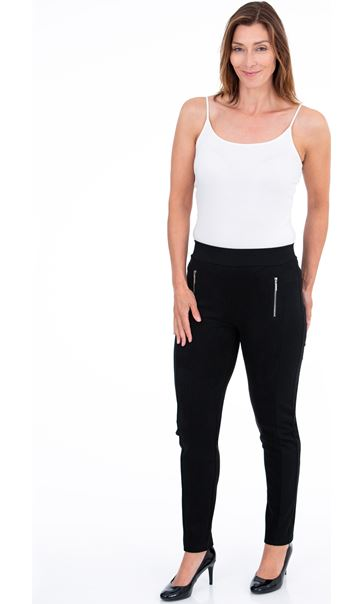 Suedette Pointe Contrast Leggings - Black