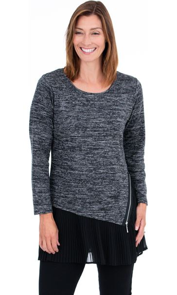 Double Layer Pleated Tunic Black/Grey