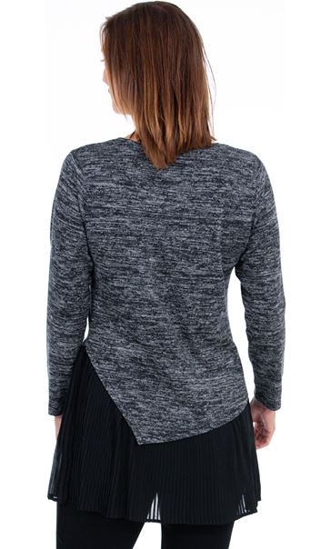 Double Layer Pleated Tunic Black/Grey - Gallery Image 2