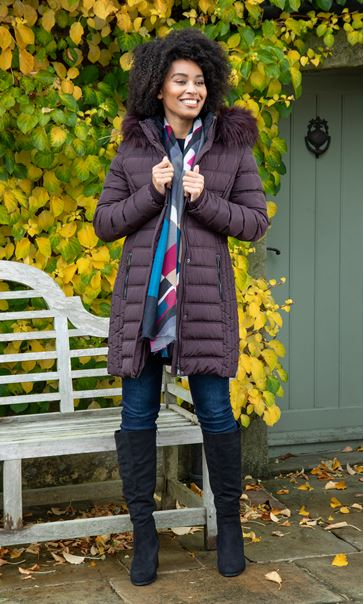 Faux Fur Trimmed Puffa Coat Dark Choc