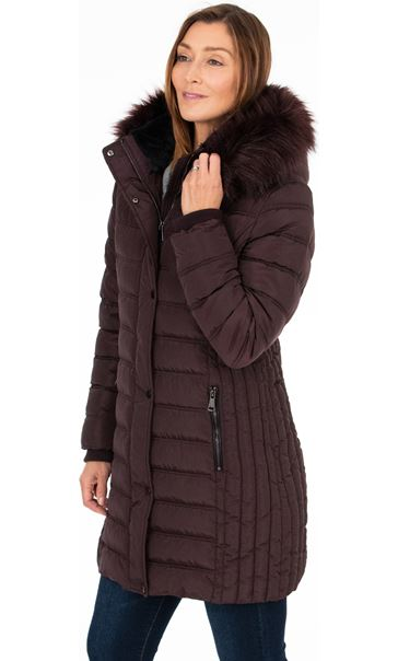 Faux Fur Trimmed Puffa Coat Dark Choc - Gallery Image 2