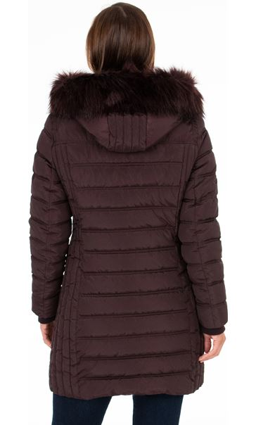 Faux Fur Trimmed Puffa Coat Dark Choc - Gallery Image 3
