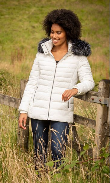 Longline Padded Coat With Hood - Ivory