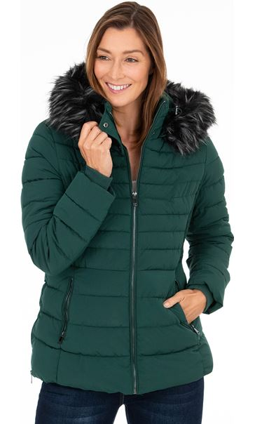 Herringbone Quilted Coat - Ivy Green