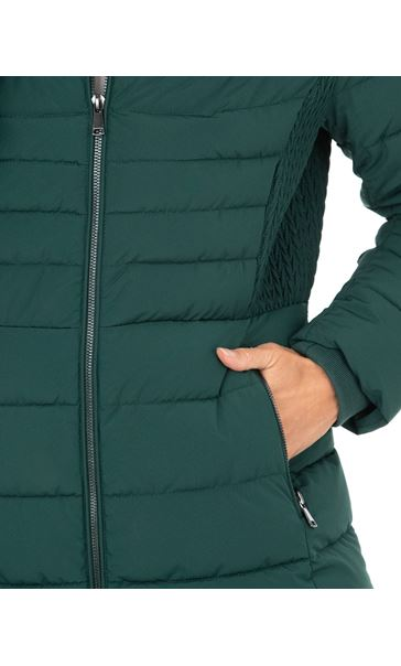 Longline Padded Coat With Hood Ivy Green - Gallery Image 3