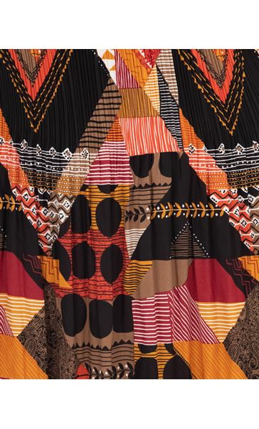 Printed Pleated Dress Berry/Rust - Gallery Image 3