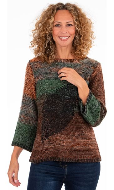 Knitted Three Quarter Length Sleeve Top - Multi