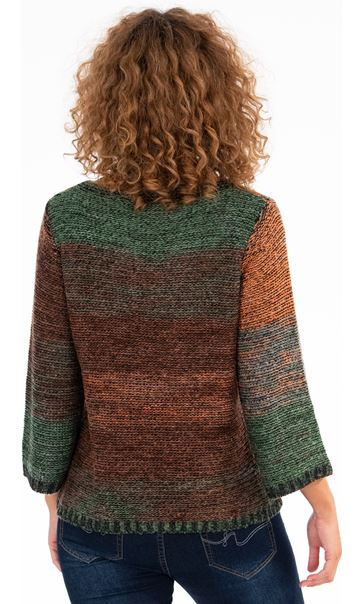 Knitted Three Quarter Length Sleeve Top Green/Orange - Gallery Image 2