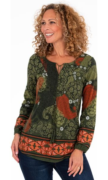 Long Sleeve Printed Lightweight Knit Tunic
