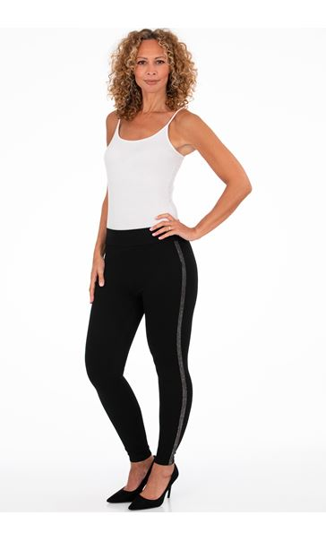 Sparkle Trim Ponte Leggings Black