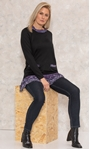 Georgette Trim Knitted Tunic Black/Purple - Gallery Image 1
