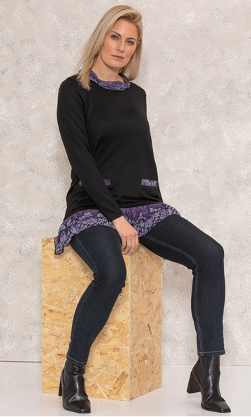 Georgette Trim Knitted Tunic