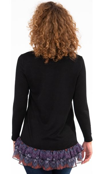 Georgette Trim Knitted Tunic Black/Purple - Gallery Image 2