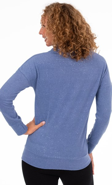 Cowl Neck Zip Top - Blue