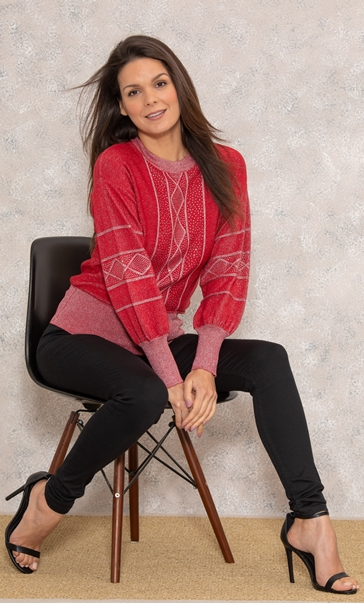 Embellished Balloon Sleeve Knitted Top Red/Silver