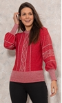 Embellished Balloon Sleeve Knitted Top Red/Silver - Gallery Image 2