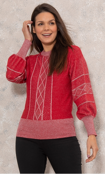 Embellished Knitted Top - Red/Silver
